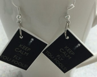 "Lord of the Rings Gandalf ""Keep calm and fly you fools"" dangle earrings"