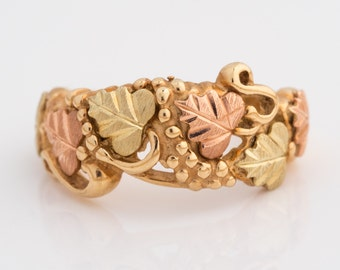 Vintage 1982 Autumn Leaf Cluster Yellow & Rose Gold Ring Band, VJ #214