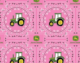 John Deere Fabric- John Deere Bandana Tractor Fabric- Pink Nursery Fabric  From Springs Creative