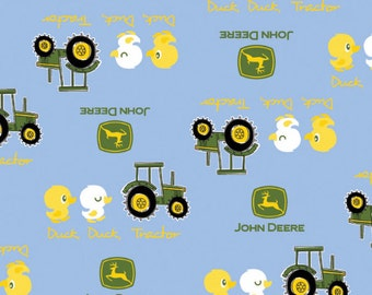 John Deere Fabric- Duck Duck Tractor Blue Nursery Fabric From Springs Creative