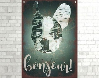 Bonjour! French Bulldog Metal Sign PRINT VINTAGE STYLE