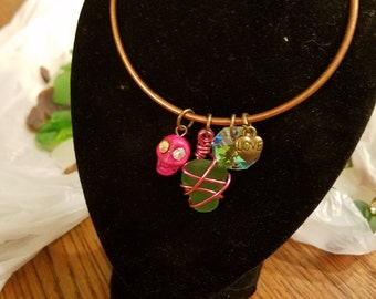 Seaglass bracelet - Day of the Dead