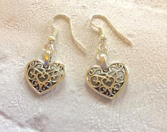 Silver Heart Earrings, Silver Earrings, Heart Earrings, Lattice Heart Earrings, Silver Drop Earrings, Wedding Jewellery.