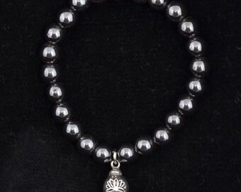 Lotus Charm Hematite Bracelet