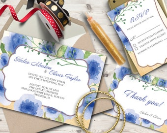 WedWedding invitaion suite, Watercolor printable invitaitions, Hand painted wedding invites, RSVP / Thank you card
