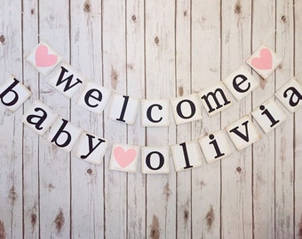 Welcome baby banner, welcome baby sign, baby shower decoration, baby name banner, baby shower banner, welcome baby name banner
