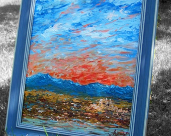 Abstract landscape ORIGINAL OIL PAINTING Clouds over the hills 16,54x12,6 in
