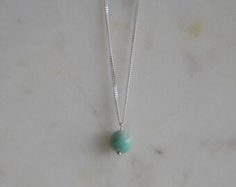 Semi Precious Amazonite Pendant Necklace | Simple Pendant Necklace | Single Bead Pendant Necklace | Sterling Silver Semi Precious Necklace