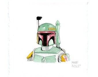 Small Realistic Star Wars Bobba Fett Figure Watercolor Painting