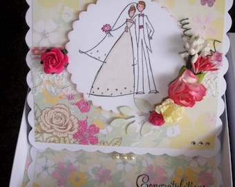 "Boxed 6"" square Easel Wedding Card, hand coloured Wedding Card/wedding keepsake"
