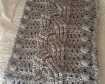 Puff Cable Scarf in Silver