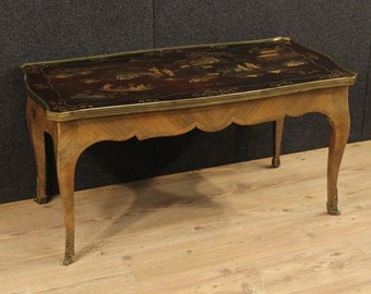 French coffee table with lacquered chinoiserie top