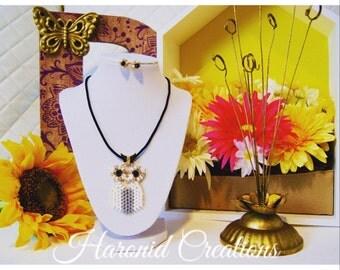 Athene II. Beaded owl necklace and earrings set.