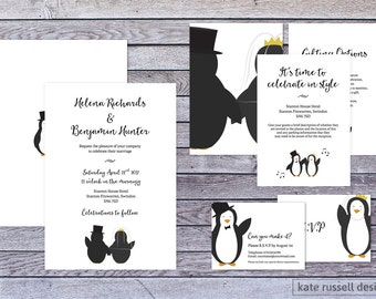 Wedding Invitations - Penguin Theme - Penguin Wedding - Love - Marriage - Monochrome