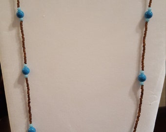 Blue and Brown Glass Beading