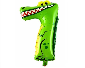 Alligator Crocodile Number 7 Balloon-Air Only-Does Not Float-Peter Pan Swamp Safari Wildlife Woodland Reptile Animal-Birthday Party Balloons