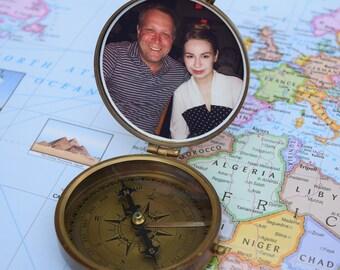 Personalized Compass, Photo Compass, Nautical Compass, Antique Compass, Groomsmen Gift, Wedding Gift, Corporate Gift, Personalized Compass
