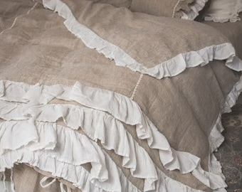 Luxury Natural Linen Bedding Linen Duvet Cover Shabby Chic Bedding Stonewashed Bedding Romantic Organic Elegant Bedding White Bedding