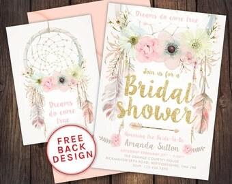 Bridal shower invitation, dream catcher invitation, Bridal shower digital invitation, floral Bridal shower, boho invite, dreamcatcher
