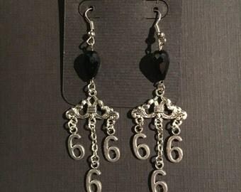 Gothic 666 chandelier earrings