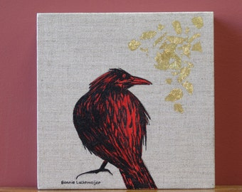 "Original Framed 8x8 Acrylic on Linen with Gold Leaf ""Crow & Leaf"" By Bonnie Luchtmeijer"