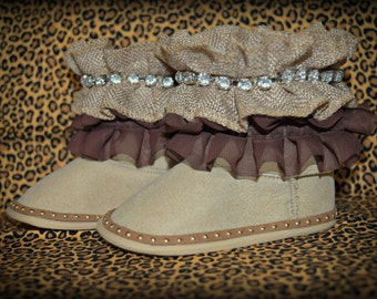 Double Ruffle custom baby boots