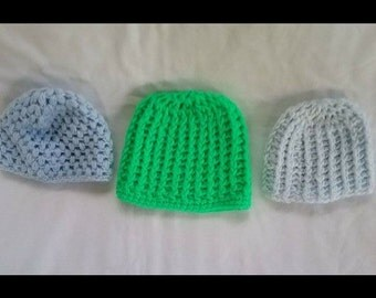 Crochet baby hats, baby caps,