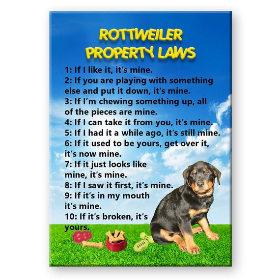 Rottweiler Property Laws Fridge Magnet No 1