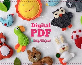 Digital PDF Pattern DIY Baby Felt ornaments, Forest decoration set, Birds, Sun, Koala Rabbit Parrot Owl Fox Squirrel House, Instant download