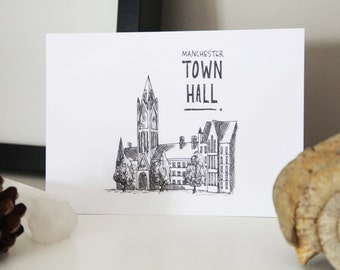 Manchester Town Hall - Manchester Illustration - Manchester Postcard - Manchester Lover - Birthday Gift - Wedding Gift - Wedding Postcard