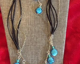 Leather/Chain Beaded Necklace With Matching Earrings