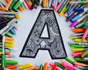 "Handmade Doodle letter ""A"""