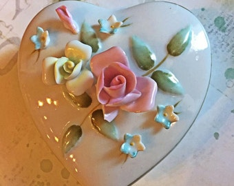 Heart Shaped Box - Embellished with Delicate Roses