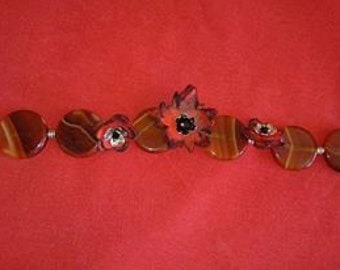 Handmade Agate and Leather Bangle, Red