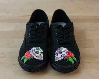Custom Sugar Skull Day of the Dead Black Converse Shoes- Hand Painted