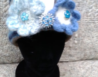 Exquisite hand knitted felted hat