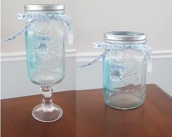 Set of 3 Standard or Tall Mason Jar Blue Tinted Baby Boy Shower Centerpiece