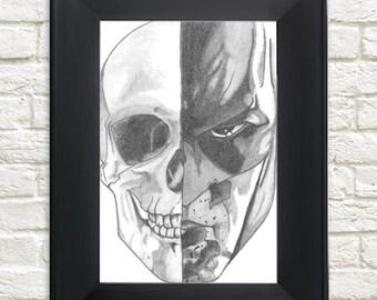 Original Framed Skull/Batman Hand Drawing 10 x 15 cm