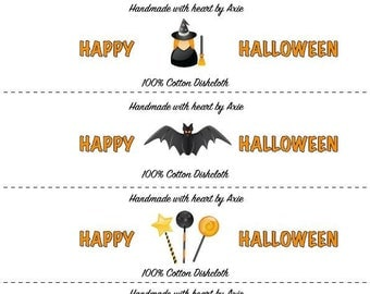Halloween labels for washcloths and dishcloths-PDF file
