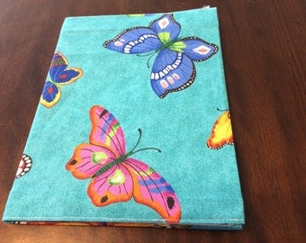 Teal Butterfly Fabric Covered Journal