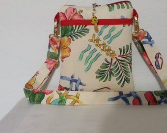 Tropical print cross body bag