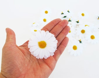 """Lot of Daisies 30 Artificial Daisy Silk Flowers White Chamomile yellow center 2"""" Floral Hair Accessories Flower Supplies Faux Fabric"""