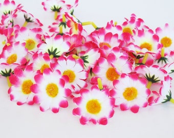 "Lot of 60 Daisies Artificial White Pink Daisy Silk Flowers Little Chamomile Pink Yellow Measuring 1.6"" DIY Wedding Floral Hair Accessories"