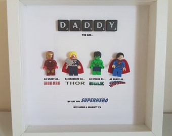 Personalised Lego Superhero Frame with Scrabble tiles