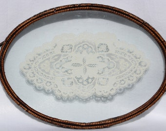 Antique tray- Glass Antique Lace and Rattan - perfect for dresser tray, serving tray, mske up tray