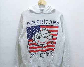 Hot Sale!!! Rare Vintage 90s DANNY FIRST USA Graphic Art Big Logo Pullover Hoodie Sweatshirt Hip Hop Swag Medium Size