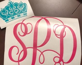 Crown monogram, Princess Decal, Crown Decal, Princess Monogram, Car Decal, Window Decal, Princess Car decal,