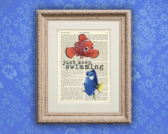 Finding Nemo Just Keep Swimming Art Print on Old Vintage Book Page Dorm Room Print Gift Print Wall Decor Poster Dictionary Art Print