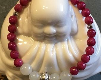 6mm Ruby Jade and Hemimorphite bead bracelet (Harmony, Self Esteem)
