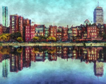 Boston Back Bay, Massachusetts Painting Poster Print
